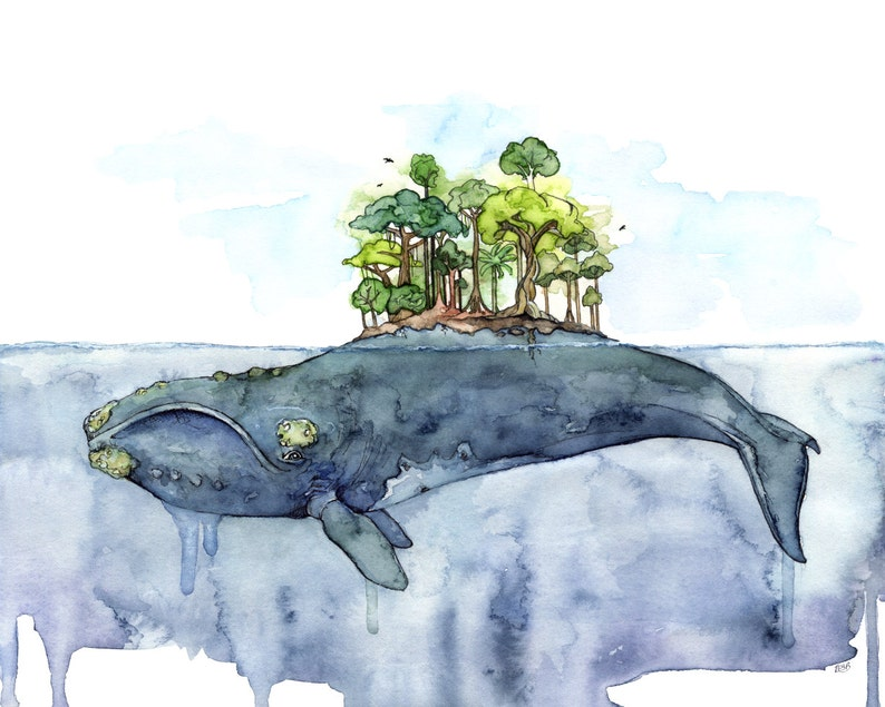 Whale Painting Watercolor Painting Whale Island Whale Art image 0