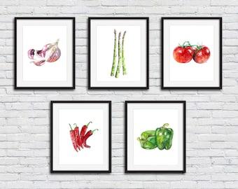 Vegetable print set of 5 - 8x10 Watercolor Paintings, Vegetable Watercolors, Kitchen Decor, Veggies, Kitchen Art, Botanical Print,Veggie Art