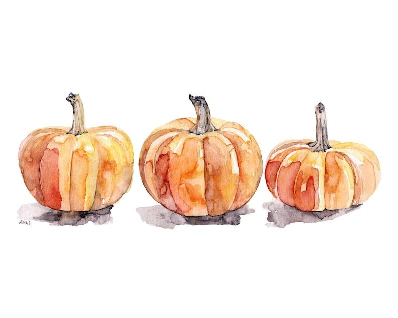 Watercolor Pumpkins Print  Painting TitledThree image 0