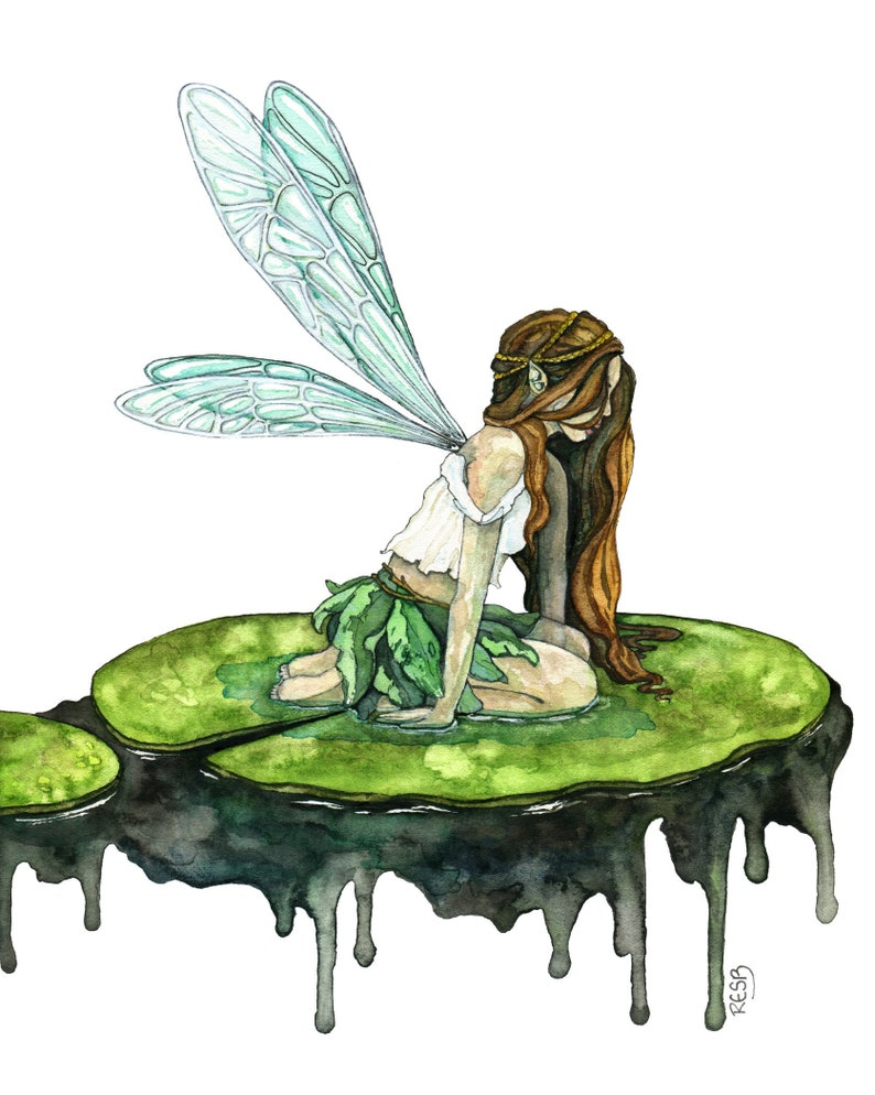 Watercolor Fairy Painting Watercolor Painting Fairy Print image 0