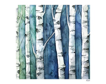 """Watercolor Birch Trees Painting - Print Titled, """"Blue Birch Forest"""", Birch Tree Art, Birch Tree Painting, Fall Decor, Birch Tree Wall Decal"""