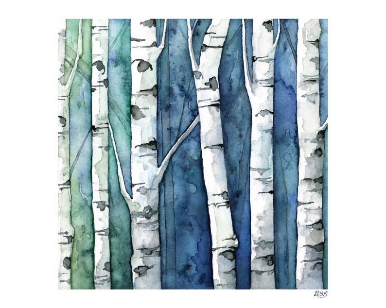 Watercolor Birch Trees Painting  Print Titled Blue image 0
