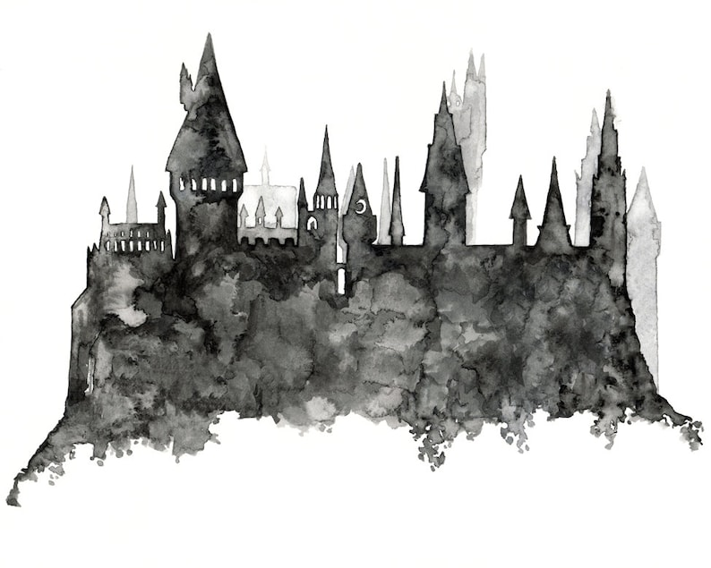 Wizard School Painting Castle Silhouette Wizard Castle image 0