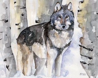 """Wolf Painting - Print from Original Watercolor Painting, """"Lone Wolf"""", Winter, Birch Tree, Wolf Art"""