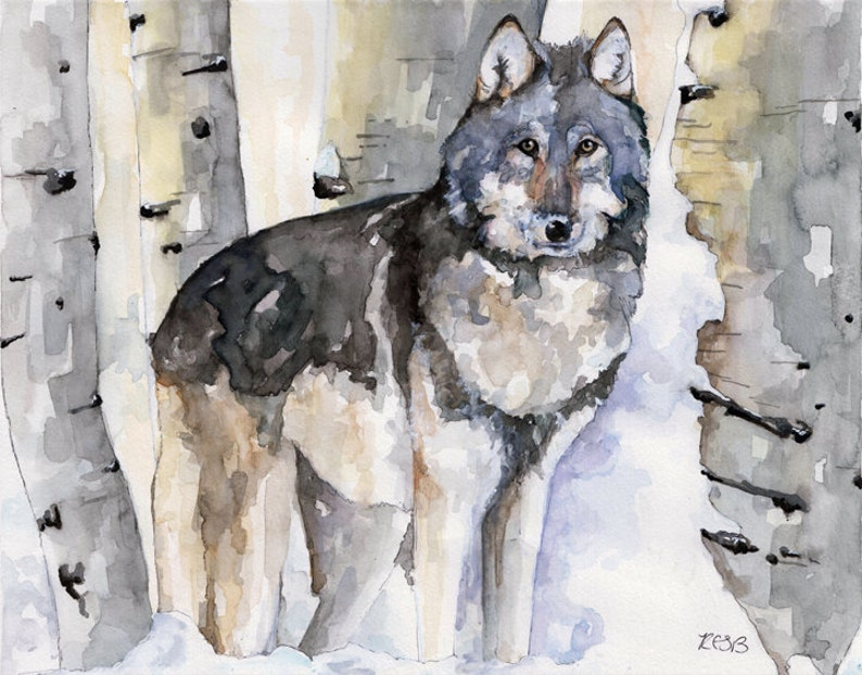 Wolf Painting  Print from Original Watercolor Painting image 0