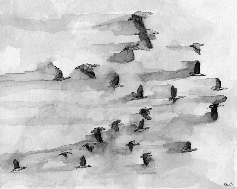 Geese Painting Watercolor Painting Flock of Geese Black and image 0