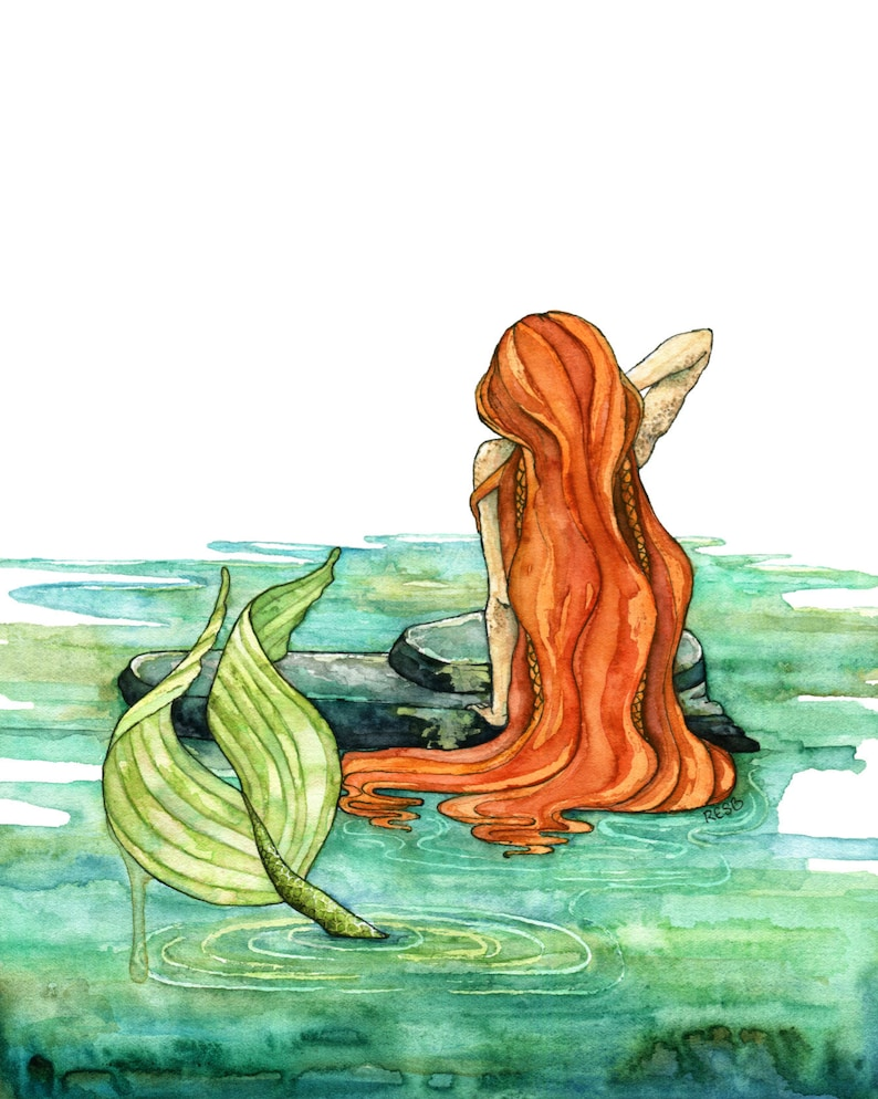 Mermaid Painting Watercolor Painting Mermaid Art Mermaid image 0