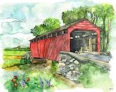 """Covered Bridge Watercolor Painting - Print titled,""""Covered Bridge"""", Watercolor Painting, Bridge, Watercolor Landscape, Landscape Painting"""