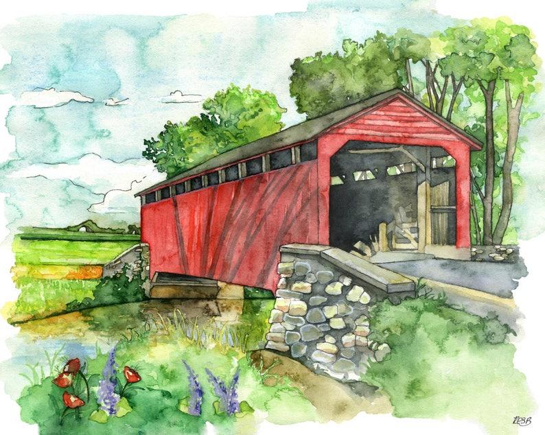 Covered Bridge Watercolor Painting  Print image 0