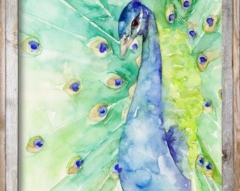 """Discounted Original Peacock Painting, Painting titled, """"Iridescent"""", Bird, Peacock Feathers"""