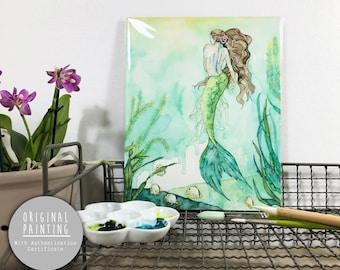 "Original Mermaid Watercolor Painting - Painting titled, ""Among the Seagrass"", Original Art, Original Painting"