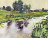 "Farm Painting - Print from my Original Watercolor Painting,""Cow Pasture"", Farm, Barn, Cow, Watercolor Landscape"
