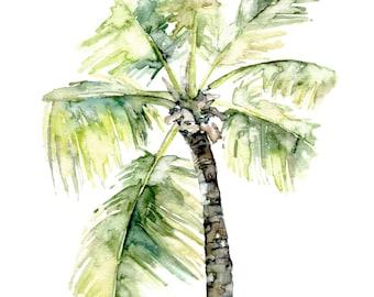 "Palm Tree Painting - Print from Original Watercolor Painting, ""Palm Tree"", Beach Decor, Beach, Palm, Palm Tree Print, Palm Print, Tropical"
