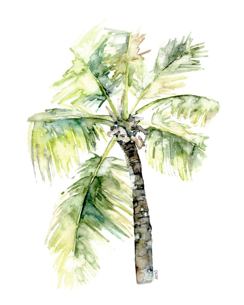 Palm Tree Painting  Print from Original Watercolor Painting image 0