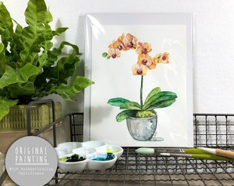 """Original Orchid Watercolor Painting - Painting titled, """"Orange Orchid"""", Original Art, Original Painting"""
