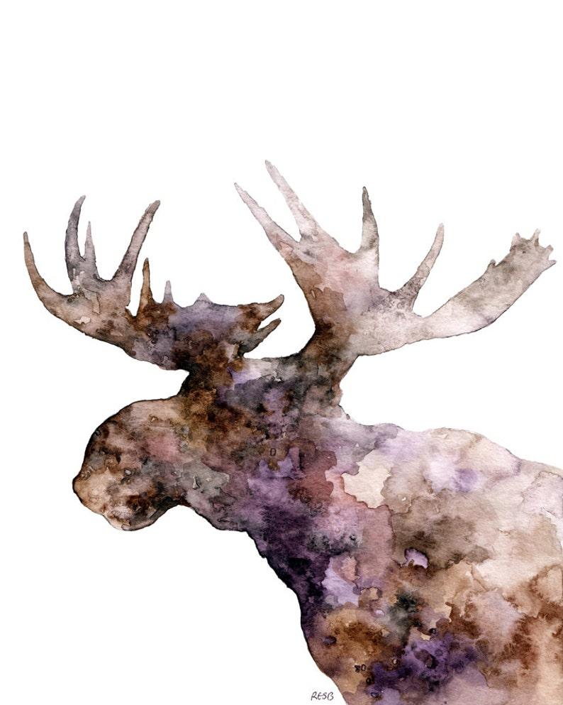 Moose Silhouette Painting  Print from Original Watercolor image 0