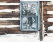 "Barn Window Painting- Print from Original Watercolor Painting, ""Blue Window"", Old Window, Barn, Barn Window"