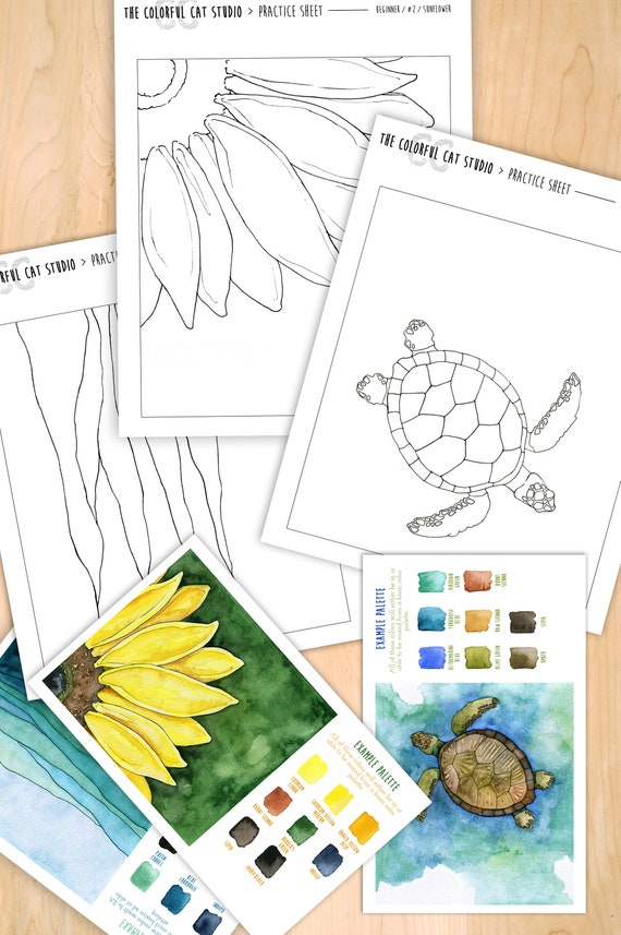 - Learn To Paint Watercolor Kit Beginner Practice Set For Paint Etsy