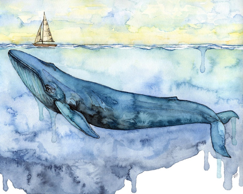 Whale Painting  Print of Blue Whale under Sailboat image 0