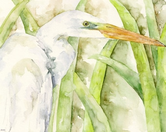 """Egret Painting - Print from Original Watercolor Painting, """"The Water Stalker"""", White Egret, Bird, Waterfowl"""