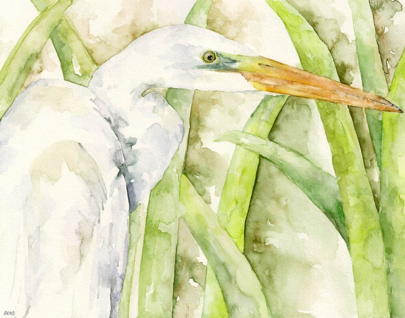 Egret Painting  Print from Original Watercolor Painting image 0