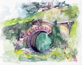 """Bag End Painting, Watercolor Painting, Lord, Fantasy Art, Rings, Fantasy Painting, Middle, Fantasy Print, Earth, Print titled,""""Bag End"""""""
