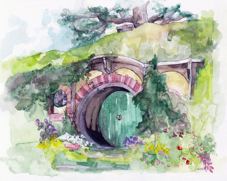 Bag End Painting Watercolor Painting Lord Fantasy Art image 0