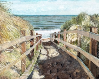 "Beach Painting, Print from Original Watercolor Painting, ""Beach Walk"", Ocean Decor, Blue Sea, Beach Dunes"