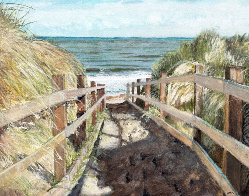 Beach Painting Print from Original Watercolor Painting image 0