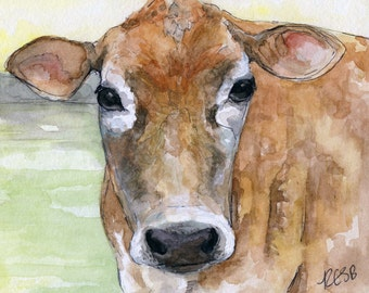 """Cow Painting - Print from the Original Watercolor Painting, """"Dolly"""", Cow Art, Cow Painting"""
