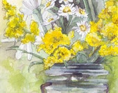 """Flower Painting - Size 5x7in, Print from Original Watercolor Painting, """"Golden Rod"""", Home Decor"""