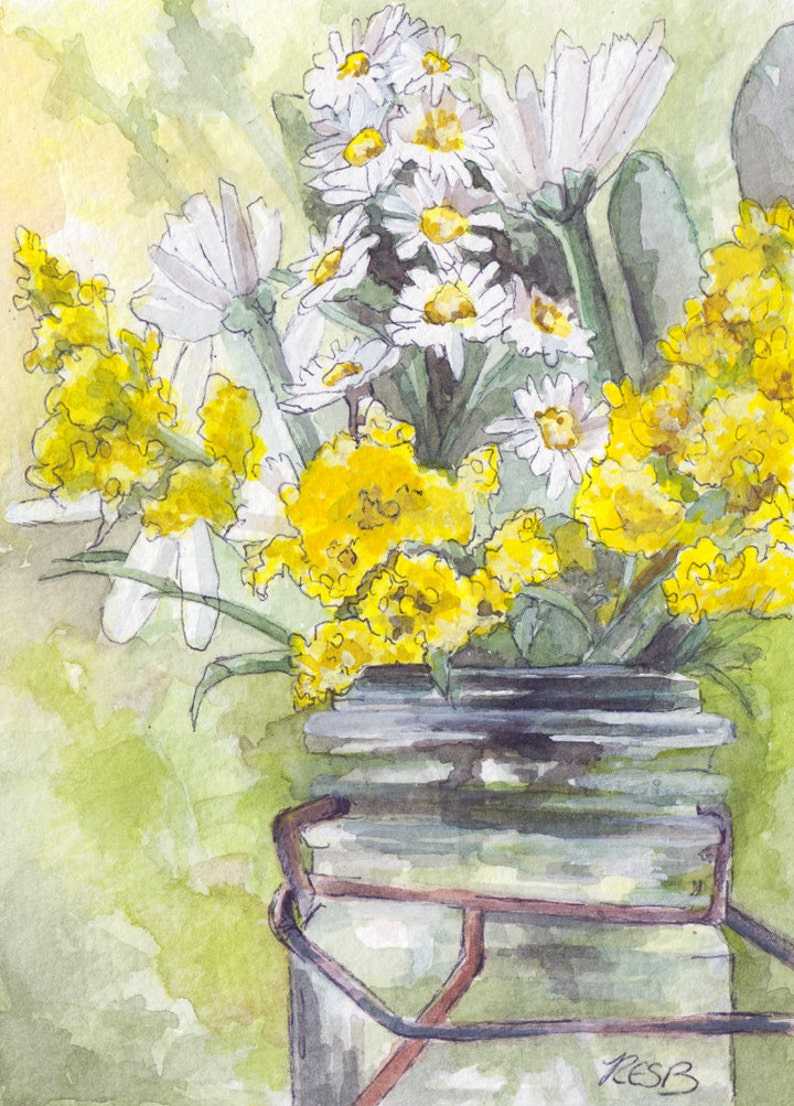 Flower Painting  Size 5x7in Print from Original Watercolor image 0