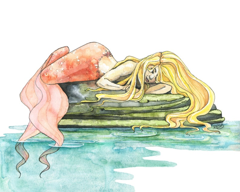 Mermaid Watercolor Painting  Print of Mermaid Sleeping image 0