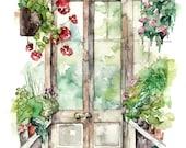 "Greenhouse Painting - Print from Original Watercolor Painting, ""Greenhouse"", Botanical Print, Red Geranium, Garden, Watercolor Flowers"