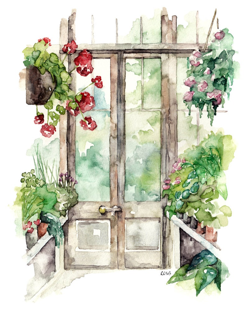Greenhouse Painting  Print from Original Watercolor Painting image 0