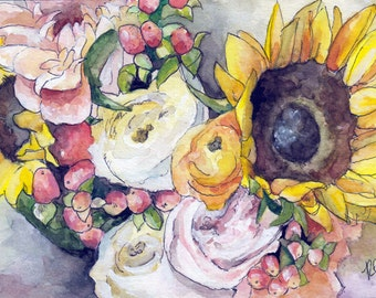 """Sunflower Painting - Size 5x7in, Print from Original Watercolor Painting, """"Sunflowers"""", Bouquet, Yellow Sunflowers"""