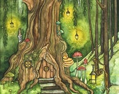 """Enchanted Forest Painting, Fantasy Art, Fairy House, Fantasy, Woodland Decor, Woods, Forest, Fairy Door, Print titled """"Enchanted Forest"""""""