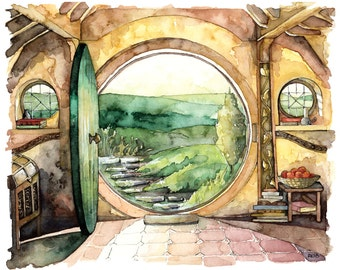 XLARGE Bag End Prints - Sizes 16x20 and up, Bag End Painting, Watercolor Painting, Bag End Art, Fantasy Art, Jrr, Rings, Fantasy Painting
