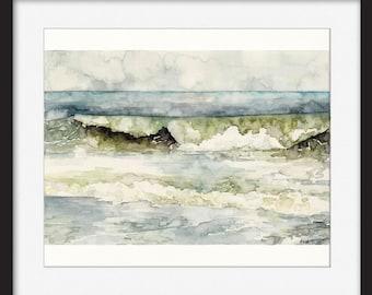 "Discounted Original Ocean Wave Painting,  Painting titled, ""High Tide"", Beach Decor, Ocean Art"
