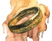 Elven Ring Painting, Jrr, Lord, Fantasy Art, Rings, Fantasy Painting, Elven Ring, Ring, Middle, Elvish, Earth, Elves, Fantasy Print