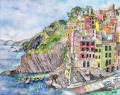 """Italy Painting - Print from Original Watercolor Painting,""""Cinque Terre"""", Watercolor Landscape, Coastal, Seaside"""