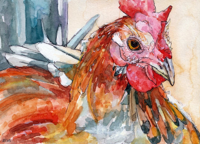 Rooster Painting  Print from my Original Watercolor Painting image 0