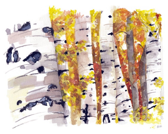 Fall Decor Birch Trees Painting Fall Leaves Birch Tree Fall Autumn Decor Print from my Original Watercolor Painting,The Golden Wood