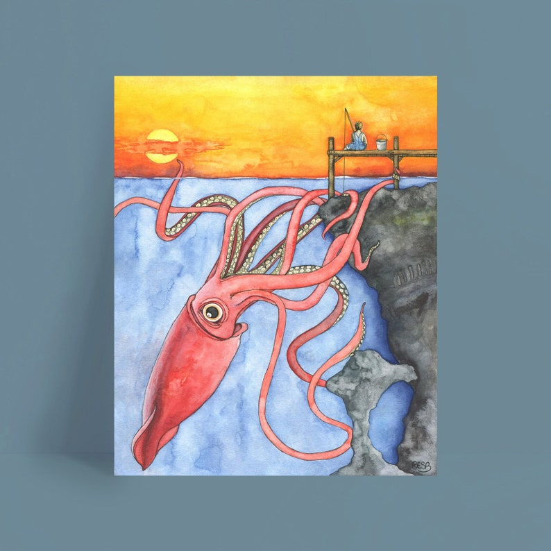 Squid Art Watercolor Painting Squid Painting Squid and Boy image 0