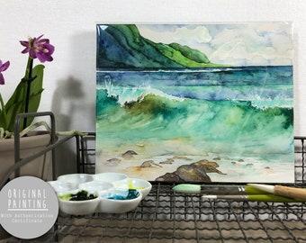 "Original Hawaii Watercolor Painting - Painting titled, ""Green Waves"", Original Art, Original Painting"