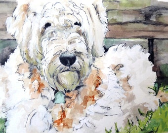 """Dog Painting - Print from Original Watercolor Painting, """"Chewy"""", Goldendoodle, Pet Decor, Dog"""