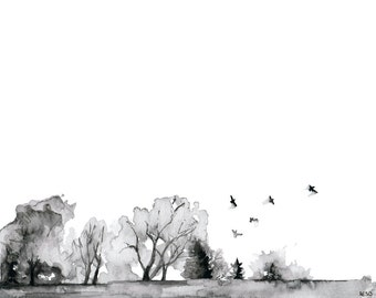 """Tree Line Painting - Print from Original Watercolor Painting, """"Quiet"""", Watercolor Landscape, Black and White, Birds in Flight"""