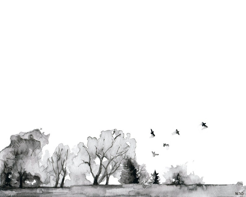 Tree Line Painting  Print from Original Watercolor Painting image 1