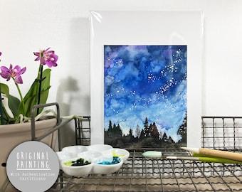 "Original Galaxy Watercolor Painting - Painting titled, ""Galaxy"", Original Art, Original Painting"