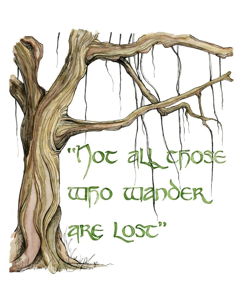 Wander Quote Painting Fantasy Art Tree Art Tree Print Jrr image 1